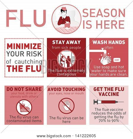 Medical vector infografics. Cold and flue. Vector illustration