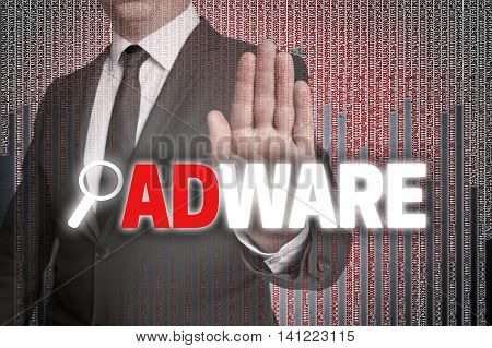 Adware With Matrix Is Shown By Businessman