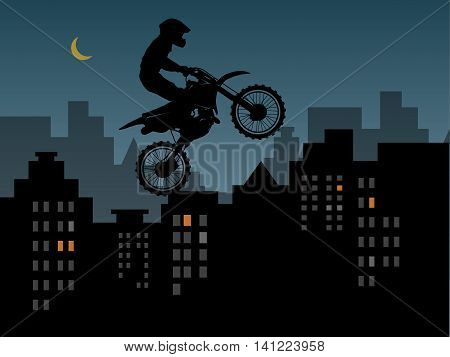 Motocross in urban jungle abstract, vector illustration