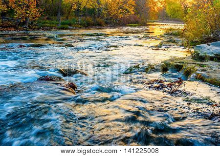 Hocking River at Sunrise in Autumn Color