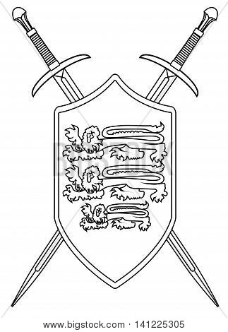 A sword typical of a knight of old isolated on a white background with shield and enblem, Vector