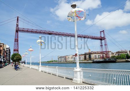 GEXTO, BILBAO. 27th July 2016. The transporter bridge at Gexto, near Bilbao, continues to be a big draw for tourists.