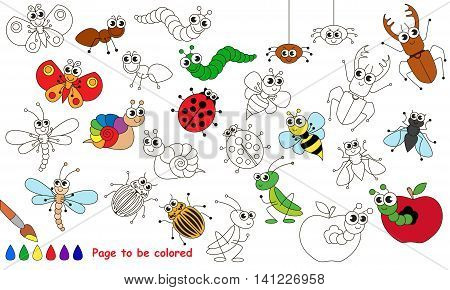 Set of funny insects to be colored. Coloring book to educate kids. Learn colors. Visual educational game. Easy kid gaming and primary education. Simple level of difficulty. Coloring pages.