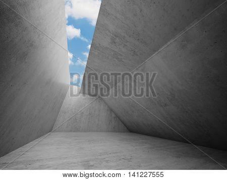 Empty Room Interior With Concrete Walls