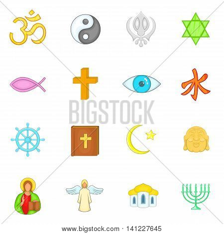 Religion icons set in cartoon style. Culture set isolated vector illustration