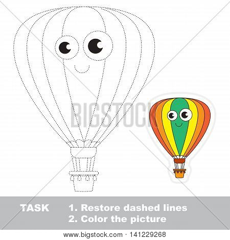 Aerostat in vector to be traced. Easy educational kid game. Simple level of difficulty. Restore dashed line and color the picture. Trace game for children.