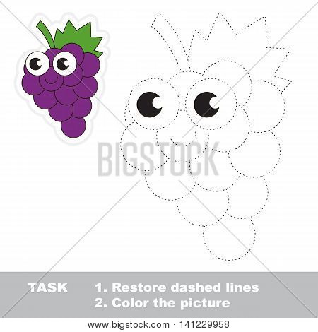 Sweet Grapes in vector to be traced. Easy educational kid game. Simple level of difficulty. Restore dashed line and color the picture. Trace game for children.