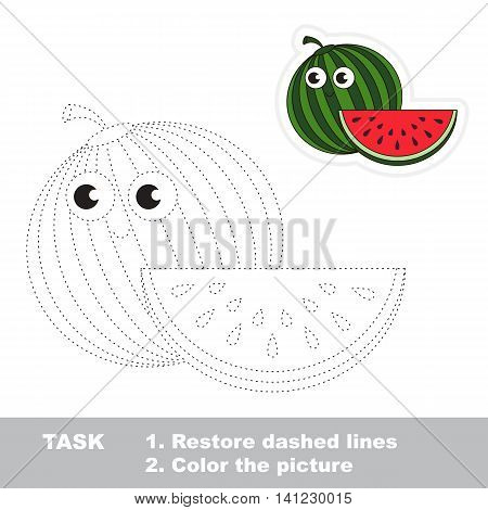 Ripe Watermelon in vector to be traced. Easy educational kid game. Simple game level. Restore dashed line and color the picture. Trace game for children.