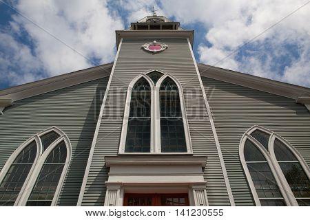 First Paris Church church located in Sandwich city Cape Cod MassachusettsUSA. New England church organized 1688.