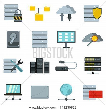 Flat database icons set. Universal database icons to use for web and mobile UI, set of basic database elements isolated vector illustration