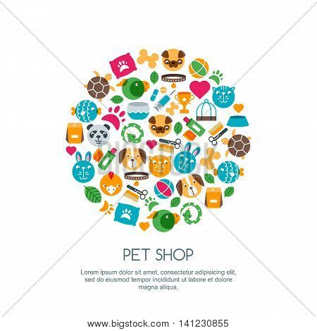 Vector Flat Illustration Of Cat, Dog, Parrot Bird, Turtle, Snake.