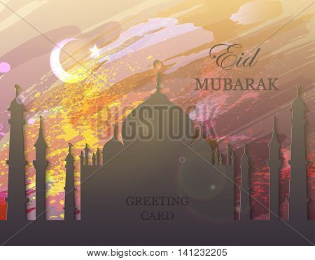 Eid Mubarak. Eid al-Fitr muslim traditional holiday. Muslim Community Festival celebration. Abstract watercolor background. Editable vector illustration for greeting card, poster, flyer