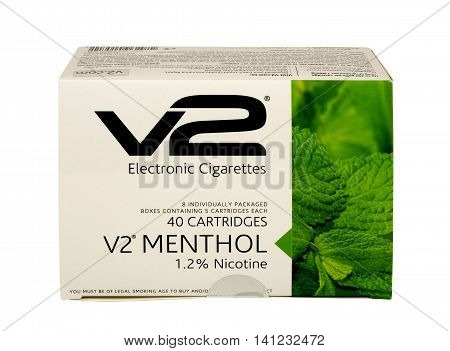 RIVER FALLS,WISCONSIN-AUGUST 04,2016: A box of V2 brand electronic cigarette cartridges. V2 is a product of VMR Products LLC.