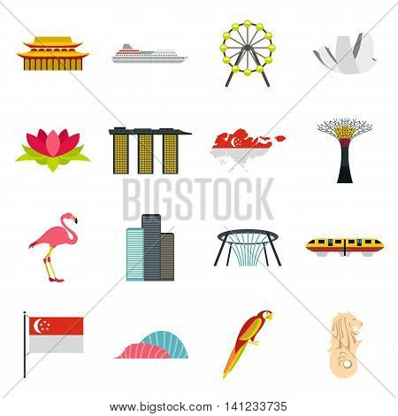 Flat Singapore icons set. Universal Singapore icons to use for web and mobile UI, set of basic Singapore elements isolated vector illustration