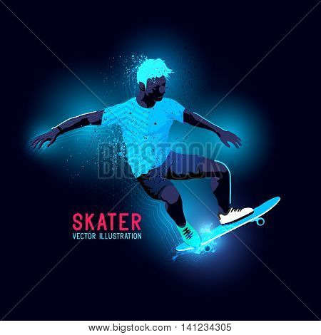 Neon glowing backlit silhouette of A skater riding a skateboard - vector illustration