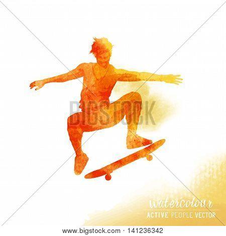A Skater flipping a skateboard. Watercolour vector illustration.