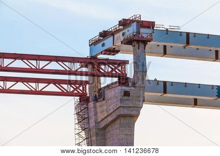 Construction of the Western High-Speed Diameter on the background of blue sky in sunny day