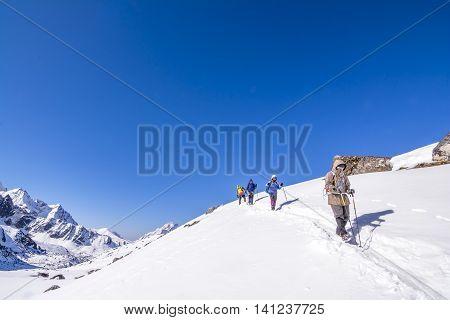 Everest Base Camp Trekking: trekkers walking to final destination.