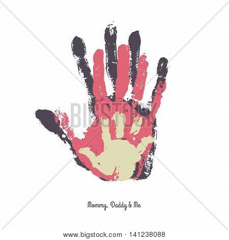 Watercolor handprint of family. Mom dad and me vector illustration. Handprint of man woman and child.