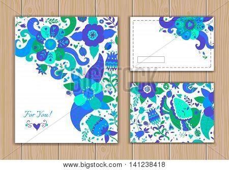 Wedding card set with abstract background with contour drawing of flowers and birds. Vector illustration. Place for text. Easy to edit.