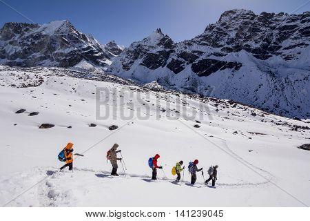 Everest Base Camp Trekking: trekkers making their way to final destination.