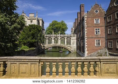 A view of the beautiful Bridge of Sighs in Cambridge UK.