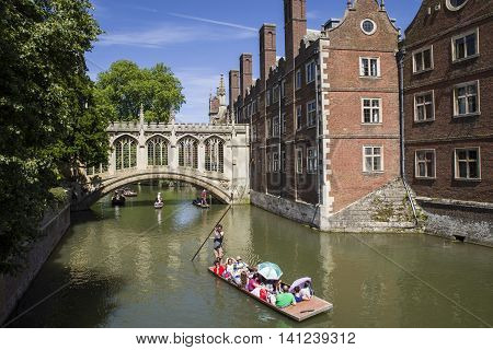 CAMBRIDGE, UK - JULY 18TH 2016: A view of the beautiful Bridge of Sighs in Cambridge UK, on 18th July 2016.
