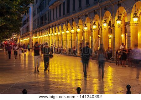 Corfu, Greece - July 6, 2011: Night Life Of Liston, Main Promenade Of Kerkyra
