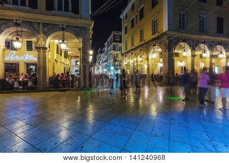 Corfu, Greece - July 12, 2011: Night Life Of Liston, Main Promenade Of Kerkyra