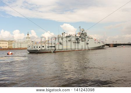 St. Petersburg, Russia - 31 July, Warship in front of the University quay, 31 July, 2016. Festive parade of warships on the Neva River in St. Petersburg.