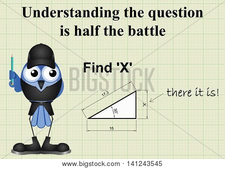 Comical answer to find X mathematical question on graph paper background