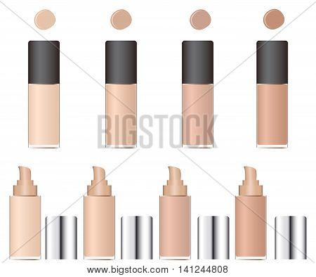 Shades of concealer. Glass packaging with a pump. A cosmetic facial makeup. Beige skin color. Female. Vector illustration.
