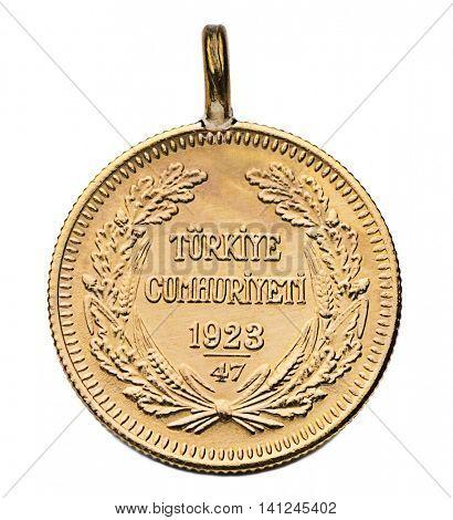 Turkish Gold Coin Ata Lira Isolated