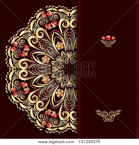 Rich burgundy background with a round gold floral pattern and place for text. Vector illustration.