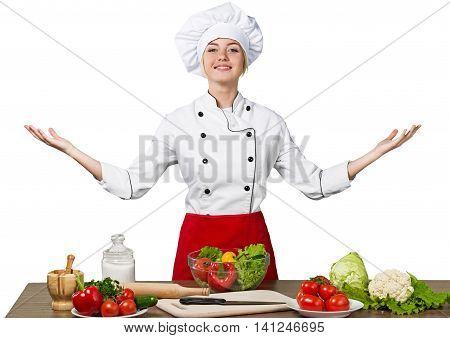juggler female asian cook against color background