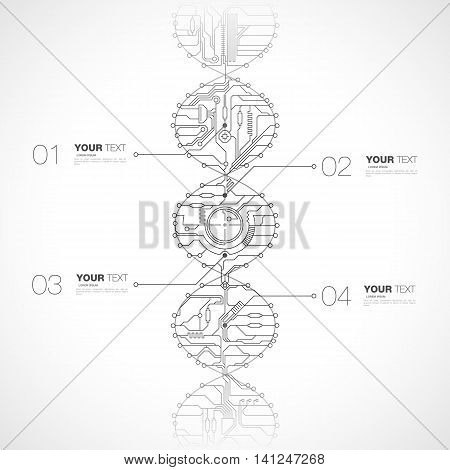 Abstract computer tech dna design infographics vector stock eps 10 illustration