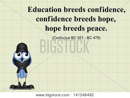 Education breeds confidence Chinese proverb on graph paper background with  copy space for own text