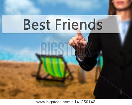 Best Friends -  Young Girl Working With Virtual Screen And Touching Button.