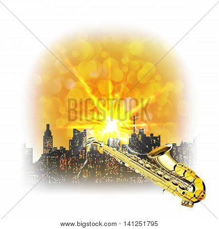 Urban landscape with a bright flash and a saxophone over the houses with glare. Image made with bleached borders and edges can be used with any text or image on a white background.