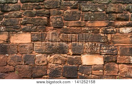 Red Stone wall texture San Ignacio ruins rocks