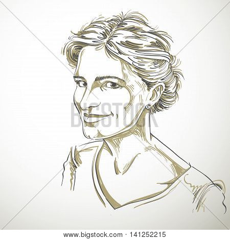 Portrait of delicate good-looking flirting woman black and white vector drawing.