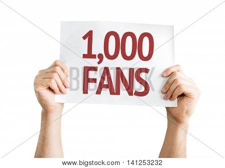 1,000 Fans isolated white background