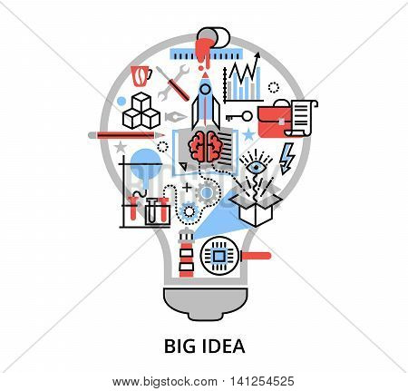 Modern flat thin line design vector illustration concept of creative big idea in the form of bulb lamp for graphic and web design