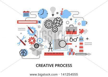 Modern flat thin line design vector illustration concept of creative process defining and research problem for graphic and web design