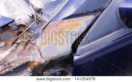 Close up shot of rusty old car useless