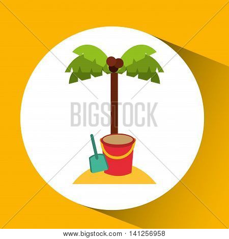 pail and palm on beach icon, vector illustration