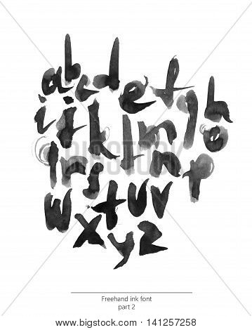 Hand drawn with liquid black ink and brush freehand alphabet part 2. Stylish lowercase letters can be used for lettering and quote design. Grainy bold font isolated on white background