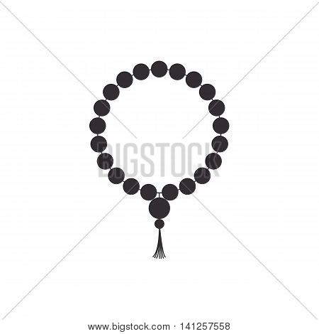 Beads. Rosary black religious accessories. Vector illustration.