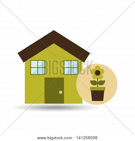 ecology house with gree flower icon, vector
