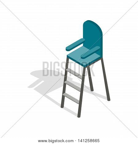 Tennis referee chair icon in isometric 3d style isolated on white background